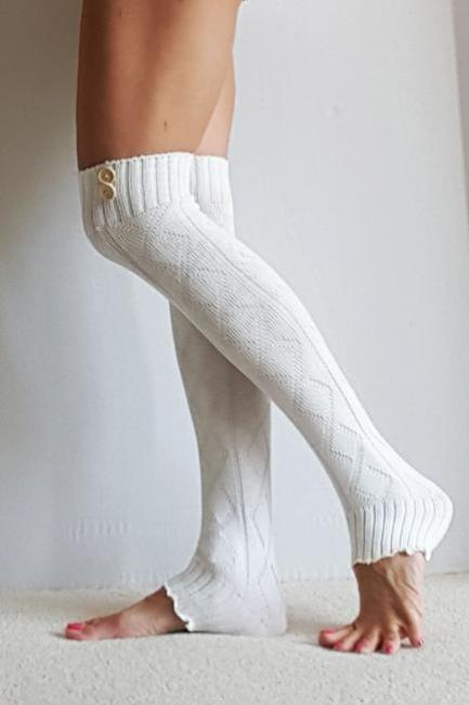 Leg warmers in CREAM with buttons, diamond pattern, yoga, boot cuffs, legwarmers